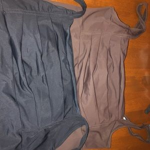 Black and brown bathing suit tops